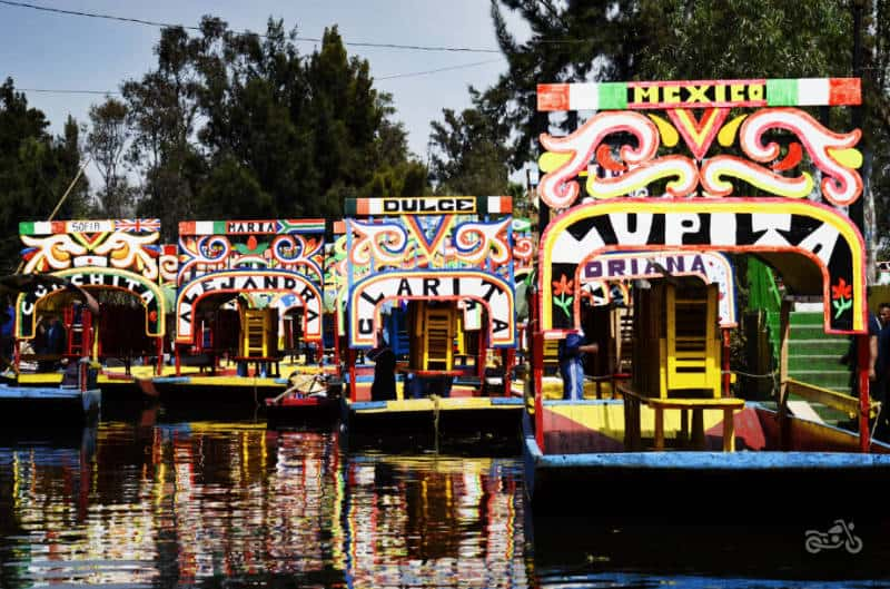 Colorful boats line the canals at Xochimilco near Mexico City.