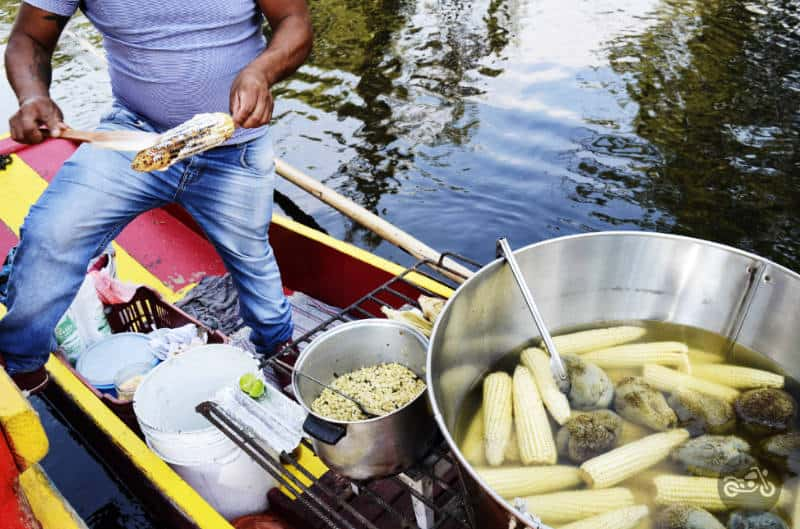 Street corn vendor at Xochimilco.