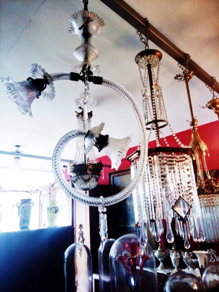 This antique light fixture is on display in one of several antique stores in Merida.