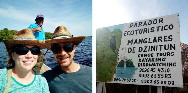 JT and Julien on the Celestun flamingo tour with guide José. And an image of the sign for Mangroves of Dzinitun which includes the contact phone number +52 999-645-4310