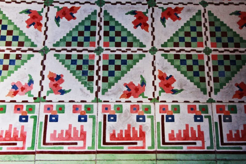 The mix of floral and geometric pattern pasta tiles at La Chuperia, one of Cozumel's best cantinas.