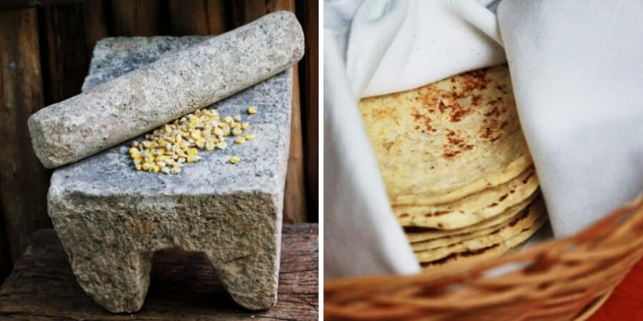 On the left, corn on a metate used for grinding it to make tortillas. On the right, a basket of fresh handmade tortillas at a restaurant in Valladolid.