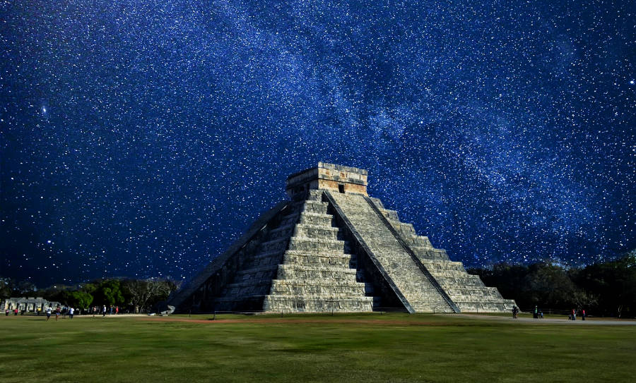 Stars light the sky above El Castillo, Chichen Itza's most notable pyramid.