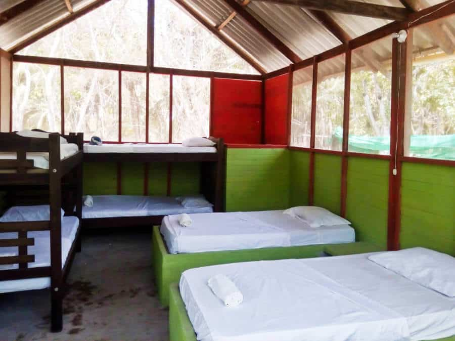 Freshly made beds in an open shared cabin at Eco Hotel Las Palmeras. Large screens on the upper portion of the building create a nice breeze.