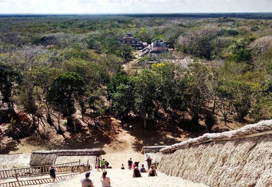 From the top of Ek Balam in the Yucatan Peninsula. The view includes other buildings on the ruin site and the lush jungle below.