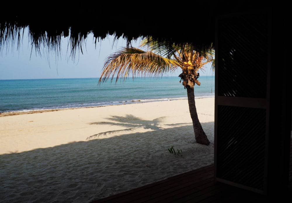 A beach view of the Caribbean Sea from Dos Aguas Lodge.