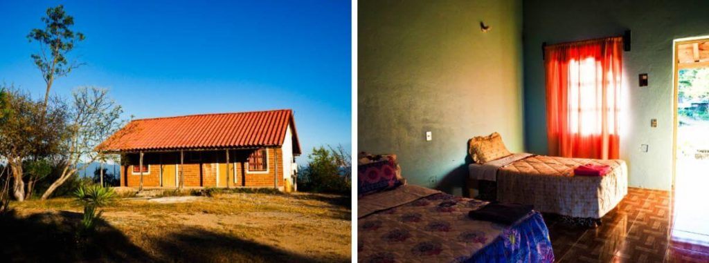 A side by side of the outside and inside of the wooden cabins for rent at Hierve el Agua