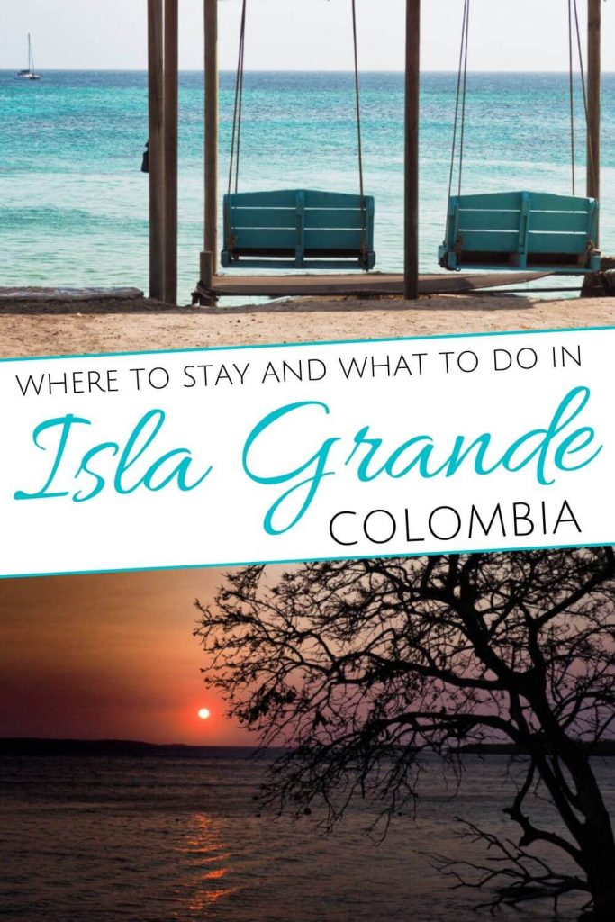 Porch swings overlooking the water and a tree silhouetted by the sunset by the sunset with the words Where to stay and what to do in Isla Grande, Colombia to post on Pinterest.