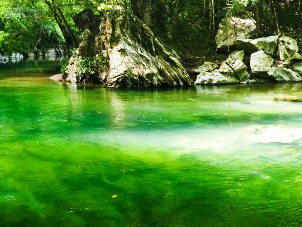 Clear but vibrant green water of the Rio Claro with large marble rock formations in the background.